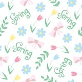 Vector floral pattern in doodle style with flowers and leaves. spring background Royalty Free Stock Image