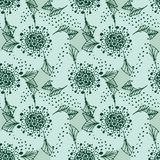 Vector floral pattern in doodle style with flowers and leaves. Gentle, spring floral background.  Royalty Free Stock Images