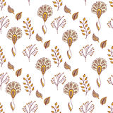 Vector floral pattern in doodle style with flowers and leaves. Gentle, spring background. Royalty Free Stock Photo