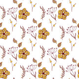 Vector floral pattern in doodle style with flowers and leaves. Gentle, spring background. Royalty Free Stock Photography