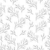 Vector floral pattern in doodle style with flowers and leaves. Gentle, spring floral background. Vector floral seamless pattern in doodle style with flowers and royalty free illustration