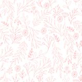 Vector floral pattern in doodle style with flowers and leaves. Gentle, spring floral background. Vector floral seamless pattern in doodle style with flowers and vector illustration