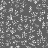 Vector floral pattern in doodle style with flowers and leaves. Gentle, spring floral background. Vector floral seamless pattern in doodle style with flowers and stock illustration