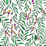 Vector floral pattern in doodle style with flowers and leaves. Gentle, spring floral background. Stock Photos