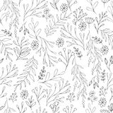 Vector floral pattern in doodle style with flowers and leaves. Gentle, spring floral background. Stock Images