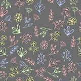 Vector floral pattern in doodle style with flowers and leaves. Gentle, spring floral background. Stock Image