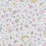 Vector floral pattern in doodle style with flowers, leaves, hearts. Stock Images