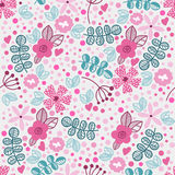 Vector floral pattern in doodle style with flowers and leaves. Stock Photo