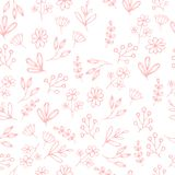 Vector floral pattern in doodle style with flowers and leaves  Royalty Free Stock Image