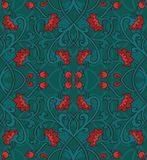 Green floral pattern. Vector floral pattern. Green template for textile, shawl, carpet Royalty Free Stock Photo