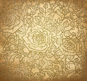 Vector Floral Pattern Of Roses On Old Paper Backgr Stock Photos