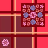 Vector floral pattern on a red checkered background for textile design stock illustration