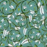 Vector floral pattern snowdrops copy vector illustration