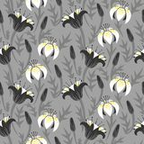 Vector floral pattern with tulips and lilies Royalty Free Stock Photography