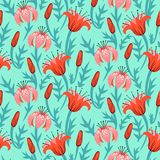 Vector floral pattern with tulips and lilies Stock Photos