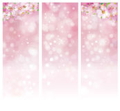 Vector floral pink bokeh banners. Stock Images