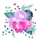 Vector floral romantic, pink and purple composition. Trendy flowers,succulent,leaves,greenery. Summer,spring,wedding decor design royalty free illustration