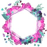 Vector floral romantic, pink and purple composition. Trendy flowers,succulent,leaves,greenery. Summer,spring,wedding decor design stock illustration