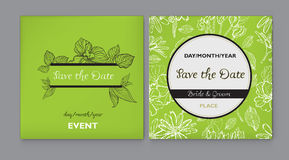 Vector floral Save the Date. Set of vector floral Save the Date for events design Stock Photo