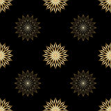Vector floral seamless background. Vector vintage gold geometrical floral ornament. Seamless background Stock Images