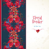 Vector floral seamless border in red colors. Stock Photos