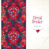 Vector floral seamless border in red colors. Royalty Free Stock Photography