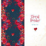 Vector floral seamless border in red colors. Stock Photo
