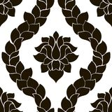 Vector floral seamless damask pattern. Black and white monochrome design Royalty Free Stock Images