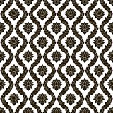 Vector floral seamless damask pattern. Black and white monochrome design Royalty Free Stock Image