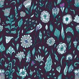 Vector floral seamless pattern with abstract  flowers and leaves. Royalty Free Stock Image