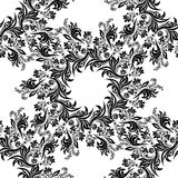 Vector Floral Seamless Pattern Background. For Christmas and Invitation cards decoration. Black and white stock illustration