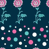 Floral seamless pattern background with polka dots vector illustration