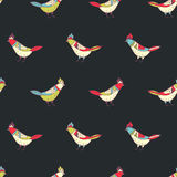 Vector floral seamless pattern. Beautiful color birds in folk style. Royalty Free Stock Photos