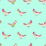 Vector floral seamless pattern. Beautiful color birds in folk style. Royalty Free Stock Photography