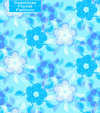 Vector floral seamless pattern. Beautiful hand-drawn flowers. Blue tone Stock Images