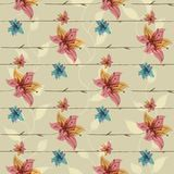 Vector floral seamless pattern with blooming flowers Royalty Free Stock Photo