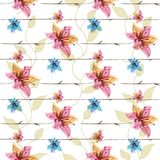 Vector floral seamless pattern with blooming flowers Royalty Free Stock Images