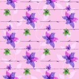 Vector floral seamless pattern with blooming flowers Stock Photo