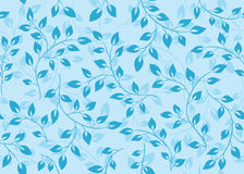 Vector floral seamless pattern with blue leaves Royalty Free Stock Images