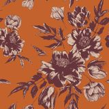 Vector floral seamless pattern with bouquets of tulips and peonies Stock Illustration