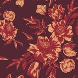 Vector floral seamless pattern with bouquets of tulips and peonies Royalty Free Illustration