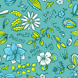 Vector floral seamless pattern with butterfly and dragonfly in d Stock Photos