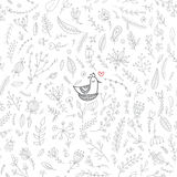 Vector floral seamless pattern with cute bird in the nest. Vector seamless floral pattern with cute bird in nest. Isolated, white background, colorless with red Royalty Free Stock Photo