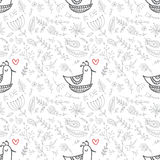 Vector floral seamless pattern with cute bird in the nest Royalty Free Stock Photography