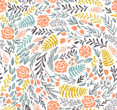 Vector floral seamless pattern in doodle style with flowers and leaves. Stock Photography