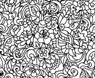 Vector floral seamless pattern. Vector floral seamless pattern with fantastic flowers, branches. Coloring book page for children stock illustration