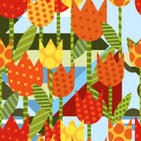 Vector floral seamless pattern. Flat creative background with ye Royalty Free Stock Images
