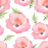 Vector floral seamless pattern with flowers in watercolor. Desig Royalty Free Stock Photo