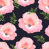 Vector floral seamless pattern with flowers in watercolor. Desig Royalty Free Stock Photos