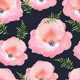 Vector floral seamless pattern with flowers in watercolor. Desig Stock Photos